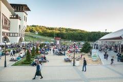 Dnepropetrovsk, de Oekraïne - Juni 3, 2017: mensenpicknick in Park Lavina met familie in Dnepropetrovsk, de Oekraïne op Juni royalty-vrije stock afbeelding