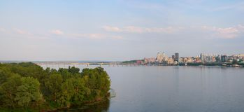 Dnepropetrovsk Dnepr, Dnipro cityscape. Dnepropetrovsk, panorama of the city, on the banks of the Dnieper river royalty free stock photo