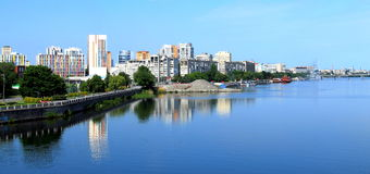 Dnepropetrovsk (Dnepr, Dnipro) Ukraine, in the morning. Dnepropetrovsk (Dnepr, Dnipro) Ukraine, view of the city in the morning royalty free stock image