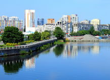 Dnepropetrovsk (Dniepr, Dnipro) de Oekraïne, in de ochtend royalty-vrije stock foto