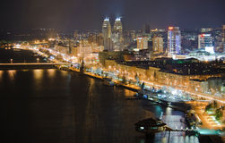 Dnepropetrovsk embankment. River embankment in Dnepropetrovsk at night from above Stock Images