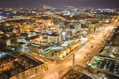 Dnepropetrovsk industrial district. Night panorama from above stock photography