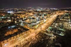Dnepropetrovsk industrial district. Night panorama from above Stock Image