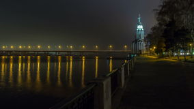 Dnepropetrovsk At Night, Time Lapse 1. Central Bridge Crosses Over The Dnepr River Into Dnepropetrovsk, Ukraine, Time Lapse stock footage