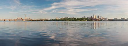 Dnepropetrovsk Dnepr, Dnipro. Dnepropetrovsk, panorama of the city, center and `Merefa-Kherson`railway bridge on the banks of the Dnieper Royalty Free Stock Photography