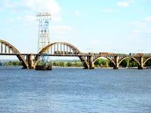 Dnepropetrovsk. Railway bridge across the Dnieper river in Dnepropetrovsk Royalty Free Stock Photo