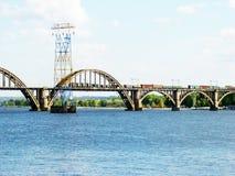 Dnepropetrovsk. Railway bridge across the Dnieper river in Dnepropetrovsk Stock Photo