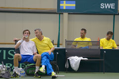 Match Alexander Dolgopolov, Ukraine - Isak Arvidsson, Sweden Stock Photos
