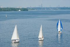 Sailing race on the Dnepr river during city yacht club championship. Dnepropetrovsk, Ukraine - May 29, 2010: Sailing race on the Dnepr river during city yacht Royalty Free Stock Photos