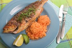 Dîner grillé de poissons Photos stock