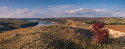 Dnestr river. Stitched Panorama Ukraine Dnestr river Stock Photography