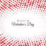 dni karty pozdrowienia s walentynki Halftone confetti czerwony serce na białym tle z tekst walentynek Szczęśliwym dniem Zdjęcie Stock