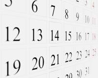 Dni na kalendarzu Fotografia Royalty Free