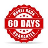 60 dni pieniądze plecy gwaranci ikona Zdjęcie Royalty Free