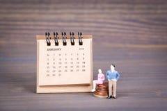 Dni Styczeń w 2018 Biurko kalendarz Fotografia Royalty Free