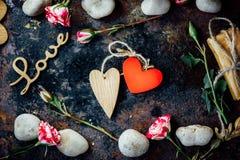 dni tła złote serce jest czerwony walentynki Obrazy Stock