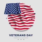 Dni weteranów plakat, realistyczna flaga America z fałdami i tekst na szarym tle, i ilustracja 3 d Obrazy Royalty Free