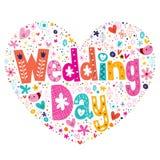 Dnia Ślubu literowania serce kształtujący projekt Fotografia Stock