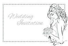 Dnia Ślubu zaproszenie z piękną narzeczoną Zdjęcia Royalty Free