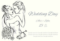 Dnia Ślubu zaproszenie z słodką parą Zdjęcie Royalty Free