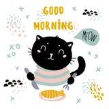 Dnia dobrego kota karta Zwierzę domowe rybiego śniadanie ilustracja wektor