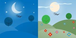 Dnia i nocy ilustracja ilustracja wektor
