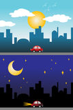 Dnia i nocy widok nowożytny miasto Obrazy Royalty Free
