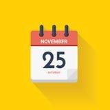 Dnia kalendarz z daktylowym Listopadem 25, 2017 również zwrócić corel ilustracji wektora ilustracja wektor