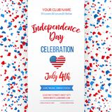 Dnia Niepodległości świętowanie czwarty Lipca Tradycyjny Amerykański wakacyjny kartka z pozdrowieniami, plakat, ulotka sztandar p Obraz Royalty Free