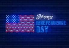 Dnia Niepodległości Neonowy znak ilustracja wektor