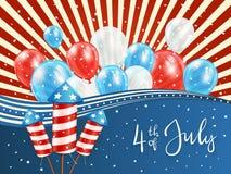 Dnia Niepodległości tło z czerwonych i błękita balonami Fotografia Royalty Free