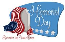 Dnia Pamięci znak z nagrobkiem i flaga amerykańską, Wektorowa ilustracja ilustracji