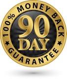 90 - dnia pieniądze tylnej gwaranci 100% złoty znak, wektorowy illustrati Fotografia Stock