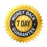 7 - dnia pieniądze plecy gwaranci etykietka Fotografia Royalty Free