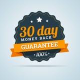 30 - dnia pieniądze plecy odznaka. Obrazy Stock