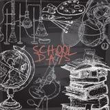 Dnia powszedniego szablon z sztuką, sport, nauka, literatura odnosić sie protestuje na blackboard tle ilustracji