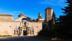 Dnia widok Królewski opactwo Santa Maria De Poblet Fotografia Royalty Free