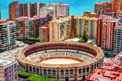 Dnia widok Malaga z portem De Torros i Placa Zdjęcie Royalty Free