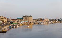 Dnieper堤防的看法在基辅 免版税库存照片