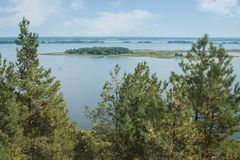 Dnieper的看法通过绿色杉木 王子` s尖顶, p 免版税图库摄影