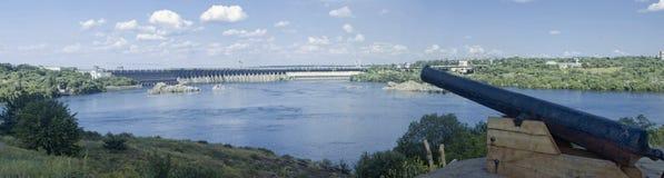 Dnieper水力发电的驻地的全景 库存图片