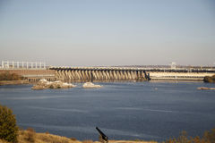 Dnieper水力发电的驻地的图片在扎波罗热 免版税库存照片