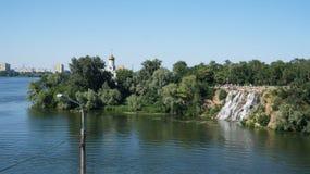 Dnieper flod, det stadsDnipro hemlandet Ukraina Royaltyfri Foto