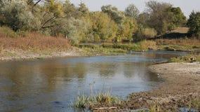 Dnieper flod, det stadsDnipro hemlandet Ukraina Arkivfoton