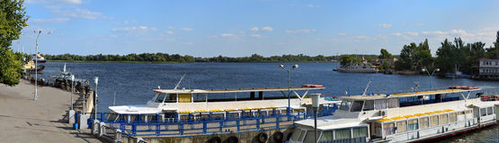 Dnieper harbor ships panorama Stock Image