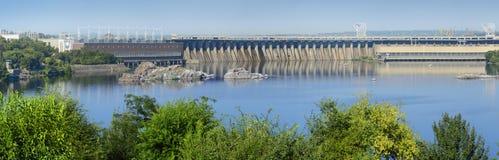 Dnieper hydroelektrisk station i Zaporozhye Arkivfoto