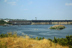 Dnieper hydroelektrisk station, Zaporizhia Arkivbild