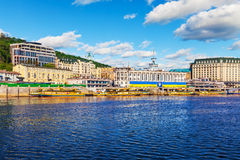 Dnieper River embankment in the Old Town of Kyiv, Ukraine Stock Image