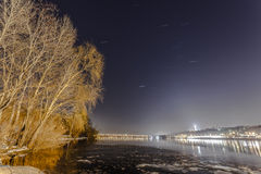 The Dnieper river is frozen. Stock Photos