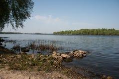 Dnieper River, Kiev, Ukraine. View on the Dnieper River from the Obolonska embankment, Kiev, Ukraine Royalty Free Stock Photography